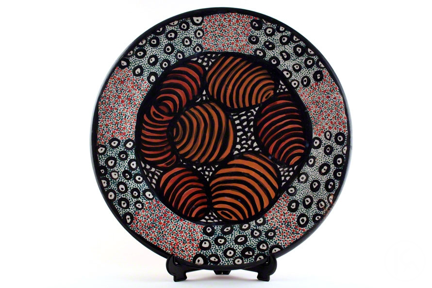 Honey Ants Hand Painted Ceramic Platter (KA0906100)  sc 1 st  Central Art Aboriginal Art Store & Honey Ants Hand Painted Ceramic Platter by Kanytjupai Armstrong from ...